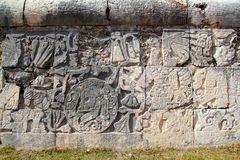Chichen Itza hieroglyphics mayan pok-ta-pok Royalty Free Stock Images