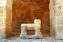 Chichen Itza Jaguar Mayan stone figure Mexico. Chichen Itza Jaguar throne Mayan temple figure Mexico Yucatan Royalty Free Stock Photos