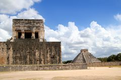 Chichen Itza Jaguar temple Kukulkan Mayan pyramid Stock Photography