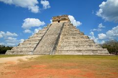 Chichen Itza Kukulkan temple pyramid Mexico Royalty Free Stock Photo
