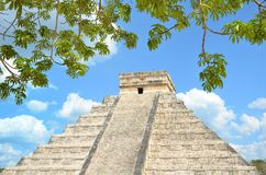 Chichen Itza Kukulkan temple pyramid Mexico Stock Photos
