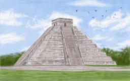 Chichen Itza Mayan. Painting style illustration of Chichen Itza Mayan Royalty Free Stock Photography