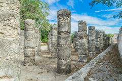 Chichen Itza. Mayan ruins, Columns in the Temple of a Thousand Warriors Yucatan, Mexico Royalty Free Stock Photos