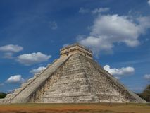 Chichen Itza, Mexico; April 16 2015: People visiting the ancient buildings of maya culture liek the pyramid, jaguar temple, planet. Ary, etc stock photo