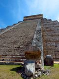 Chichen Itza, Mexico; April 16 2015: People visiting the ancient buildings of maya culture liek the pyramid, jaguar temple, planet. Ary, etc royalty free stock photo