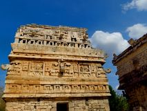 Chichen Itza, Mexico; April 16 2015: People visiting the ancient buildings of maya culture liek the pyramid, jaguar temple, planet. Ary, etc royalty free stock image