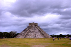 Chichen Itza, Mexico on a cloudy day. Temple of Kukulcan at the Chichen Itza, Mexico,  on a cloudy day Royalty Free Stock Photo