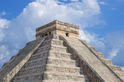 Chichen Itza,Mexico. Kukulkan pyramid at Chichen Itza archeological site Royalty Free Stock Photo