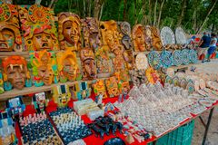 CHICHEN ITZA, MEXICO - NOVEMBER 12, 2017: Close up of beautiful and colorful handicrafts located in Chichen Itza pyramid. One of the most visited Royalty Free Stock Photography