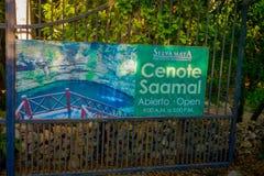 CHICHEN ITZA, MEXICO - NOVEMBER 12, 2017: Informativt tecken av cenote som är saamal nära Chichen Itza, Mexico Älskvärd cenote Royaltyfria Bilder