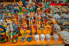 CHICHEN ITZA, MEXICO - NOVEMBER 12, 2017: Outdoor view of colorful and beautiful souvenirs, located inside of chichen. Itza one of the most visited Royalty Free Stock Photography