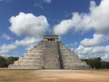 Chichen itza Mexico pyramid. Clouds in Mexico Royalty Free Stock Images