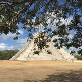 Chichen itza Mexico pyramid and. Clouds in Mexico Stock Photography