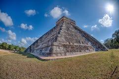 Chichen Itza Mexico pyramid on sunny day Stock Photos