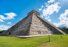 Chichen Itza in Mexico side view under the sun Stock Photo