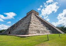 Chichen Itza in Mexico side view under the sun Stock Photo