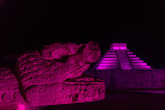 Chichen Itza at Night. Beautiful night time view of the Mayan ruins of Chichen Itza in Mexico Royalty Free Stock Photos