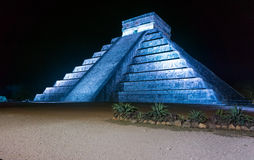 Chichen Itza at Night Royalty Free Stock Photos