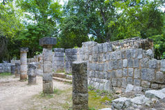 Chichen Itza observatory. Ruins and colonnade . Chichen Itza temple in Cancun, Yucatan area of Mexico Stock Image