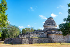 Chichen Itza Observatory. Ancient Mayan observatory in the ruins of Chichen Itza, Mexico Stock Image