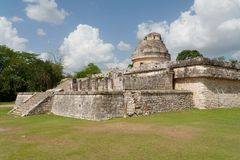 Chichen Itza Observatory Mexico. The stone walls and stairs around the cylindrical structure of the Observatory in the maya archaeological site of Chichen Itza Royalty Free Stock Images