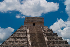 Chichen Itza Pyramid. Top portion of Chichen Itza pyramid with deep blue sky in the background Stock Images