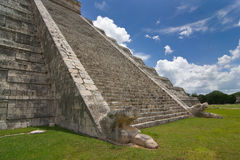 Chichen itza pyramid detailed view of stairs. In a blue sky, white clouds  day Royalty Free Stock Photos