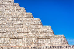 Chichen Itza Pyramid Details. Closeup view of the platforms of the pyramid in the ancient city of Chichen Itza in Mexico Stock Image