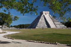 Chichen Itza pyramid. The famous Mayan pyramid from Chichen Itza, Mexico. Chichen Itza is one of the most visited archaeological sites in Mexico Stock Images