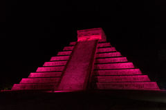Chichen Itza Pyramid. Pyramid of Kukulcan in red light at night in Chichen Itza, Mexico Stock Photos