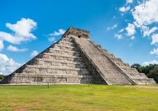 Chichen Itza pyramid in Mexico with nobody around Stock Photo