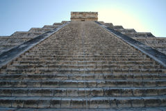 Chichen Itza Pyramid Steps Landscape. Steps of the famous pyramid at Chichen Itza on the Yucatan Peninsula in Mexico Stock Photo