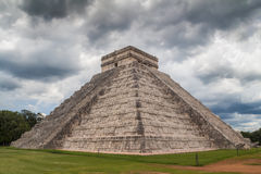 Chichen Itza pyramid under a storm, Mexico. Chichen Itza pyramid under a cloudy sky and storm, Mexico Royalty Free Stock Photo