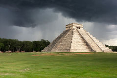 Chichen Itza pyramid under a storm, Mexico Royalty Free Stock Images