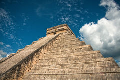Chichen Itza pyramid. View from bottom of kukulkán temple pyramid at chichen Itza archaeological site located in Yucatán,México Royalty Free Stock Image