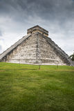 Chichen-itza. View of the tall and beautiful pyramid in Chichen-itza Royalty Free Stock Photo