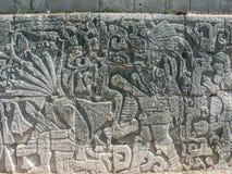 Chichen Itza. Relief (beheading-scene) at the big ballcourt of Chichen Itza, Yucatan, Mexico Stock Photos