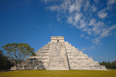 Chichen Itza Side View. Chichen Itza. Mayan ruins. One of the seven wonders of the world Royalty Free Stock Photo