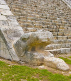 Chichen Itza Snake head Royalty Free Stock Images