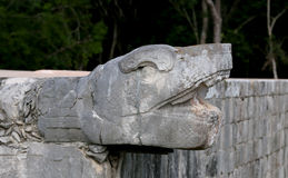 Chichen Itza. Snake head at chichen itza in mexico Royalty Free Stock Photos
