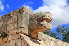 Chichen Itza snake Mayan ruins Mexico Yucatan royalty free stock photo