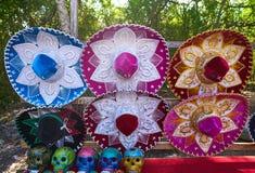 Chichen itza sombrero and skulls Mexico. Chichen itza colorful sombreros and skulls in Yucatan Mexico Royalty Free Stock Photos