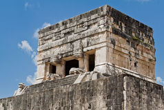 Chichen Itza Temple of Jaguars Mexico. The top of the ruins of the Temple of Jaguars at the ball court of Chichen Itza, Maya archeological site in Yucatan Stock Photos
