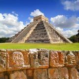 Chichen Itza Tzompantli la pared de cráneos Imagen de archivo libre de regalías
