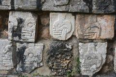 Chichen Itza Tzompantli väggen av skallar (tempel av skallar), M Royaltyfria Foton