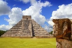 Chichen Itza Tzompantli the Wall of Skulls. And Kukulkan pyramid Stock Image
