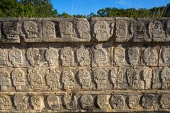 Chichen Itza Tzompantli the Wall of Skulls. In Mexico Yucatan stock images
