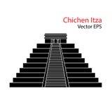 Chichen Itza. Vector flat Icon of Chichen Itza, Mexico.  on white background Stock Photo