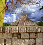Chichen Itza Wall of Skulls Kukulkan pyramid Royalty Free Stock Photo