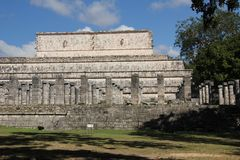 Maya ruins at Chichen Itza, Mexico. Chichen Itza was a large pre-Columbian city built by the Maya people of the Terminal Classic period. The archaeological site royalty free stock image